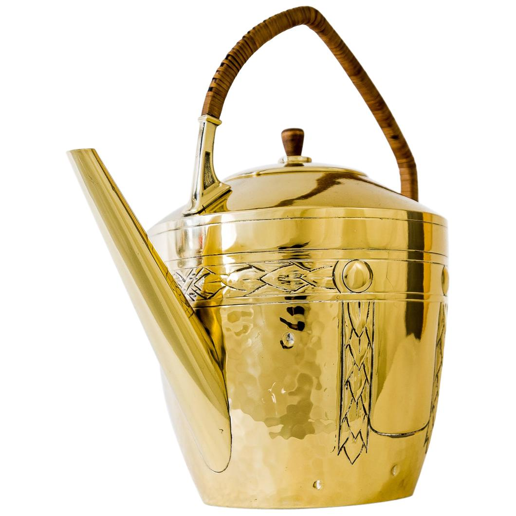 Art Deco Brass Can with Wicker Handle Around 1920s