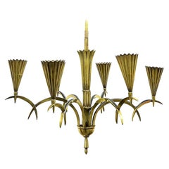 Art Deco Brass Chandelier by Dagobert Peche, 1920's