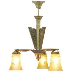 Art Deco Brass Chandelier Three Arms