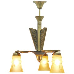 Art Deco Brass Chandelier Three Arms Glass Lampshades Whit Pattern
