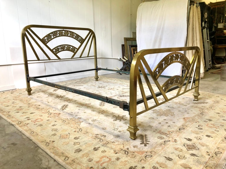 Art Deco Brass Full Size Bed Frame For Sale 12