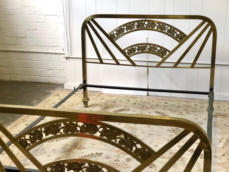Art Deco Brass Full Size Bed Frame For Sale 13