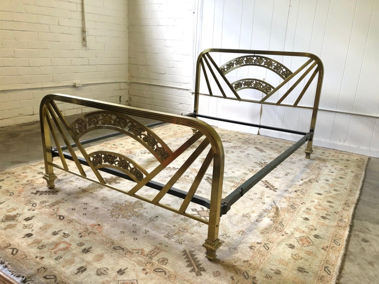 Art Deco Brass Full Size Bed Frame For Sale 14