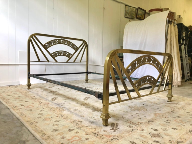 Art Deco Brass Full Size Bed Frame For Sale 15