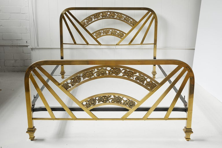 Art Deco Brass Full Size Bed Frame For Sale 16