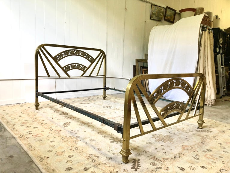 20th Century Art Deco Brass Full Size Bed Frame For Sale