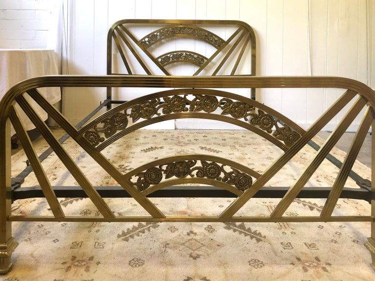 Art Deco Brass Full Size Bed Frame For Sale 2