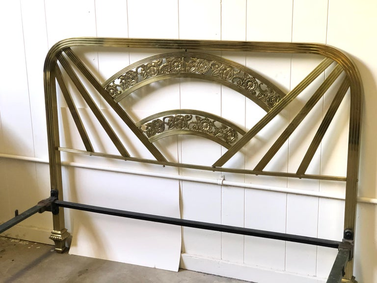 Art Deco Brass Full Size Bed Frame For Sale 4