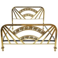 Art Deco Brass Full Size Bed Frame