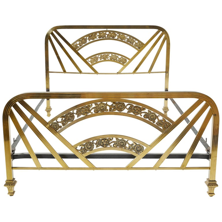 Art Deco Brass Full Size Bed Frame For Sale