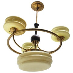 Art Deco Brass and Glass 4-Lights Chandelier, 1930s