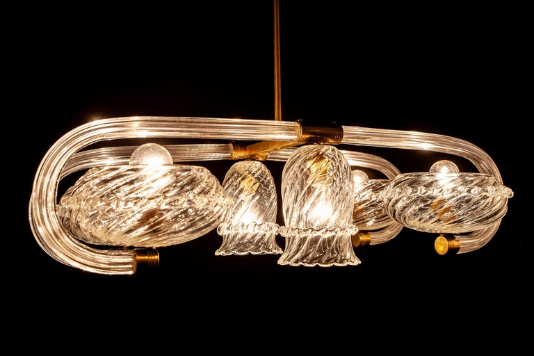 Art Deco Brass Mounted Murano Glass Chandelier by Ercole Barovier, 1940 For Sale 4
