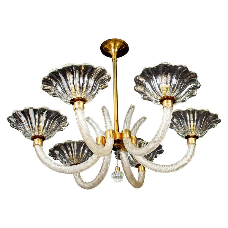 Art Deco Brass Mounted Murano Glass Chandelier by Ercole Barovier, 1940 For Sale 5