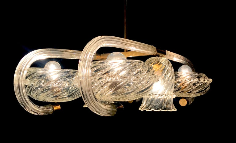 Art Deco Brass Mounted Murano Glass Chandelier by Ercole Barovier, 1940 For Sale 6