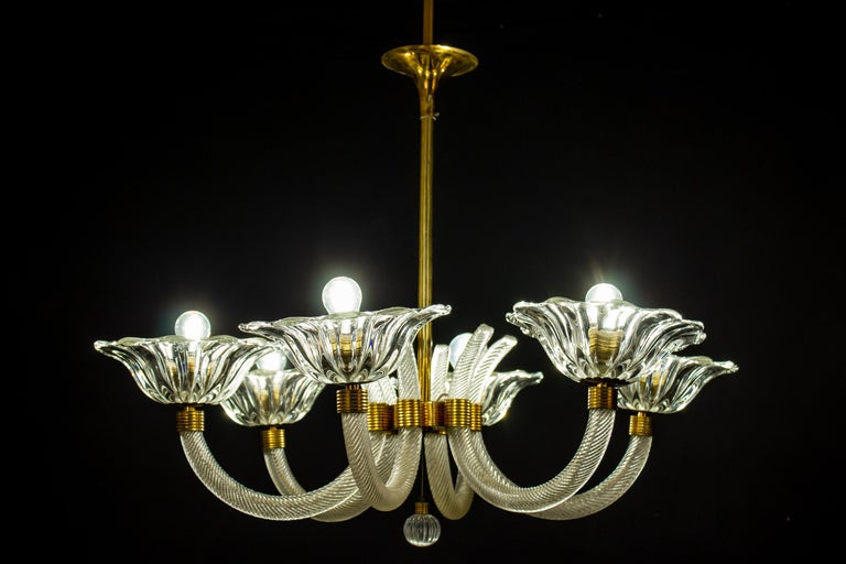 Italian Art Deco Brass Mounted Murano Glass Chandelier by Ercole Barovier, 1940 For Sale