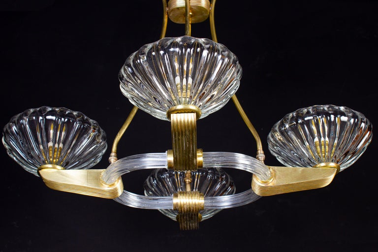 Italian Art Deco Brass Mounted Murano Glass Chandelier by Ercole Barovier, 1940 For Sale