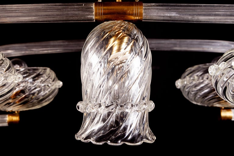 Art Deco Brass Mounted Murano Glass Chandelier by Ercole Barovier, 1940 In Excellent Condition For Sale In Rome, IT