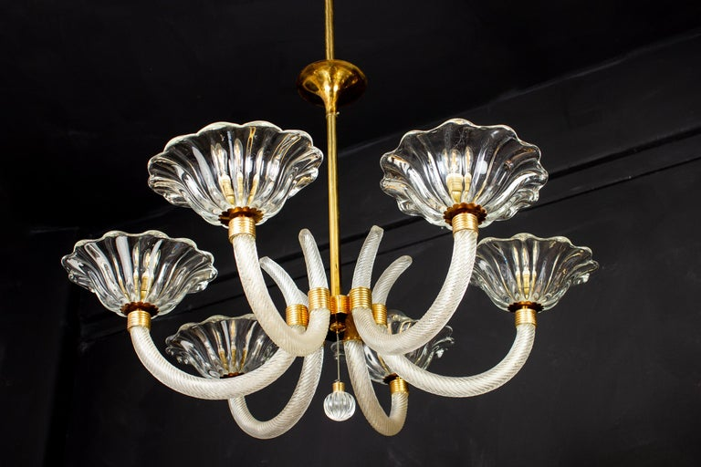 20th Century Art Deco Brass Mounted Murano Glass Chandelier by Ercole Barovier, 1940 For Sale