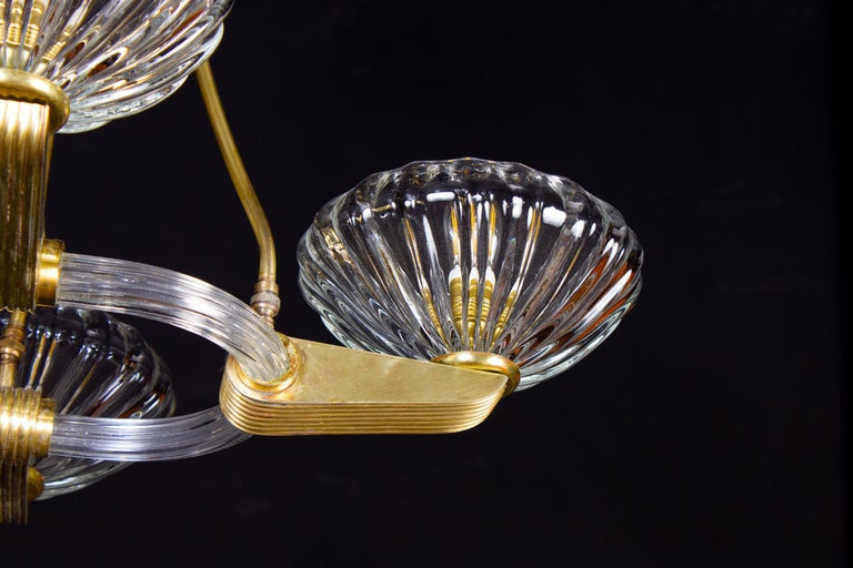 Blown Glass Art Deco Brass Mounted Murano Glass Chandelier by Ercole Barovier, 1940 For Sale