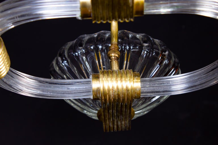 Art Deco Brass Mounted Murano Glass Chandelier by Ercole Barovier, 1940 For Sale 1