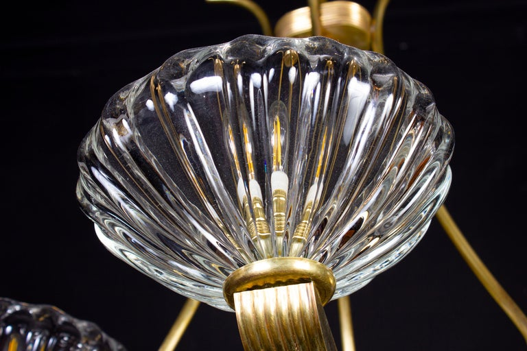 Art Deco Brass Mounted Murano Glass Chandelier by Ercole Barovier, 1940 For Sale 3