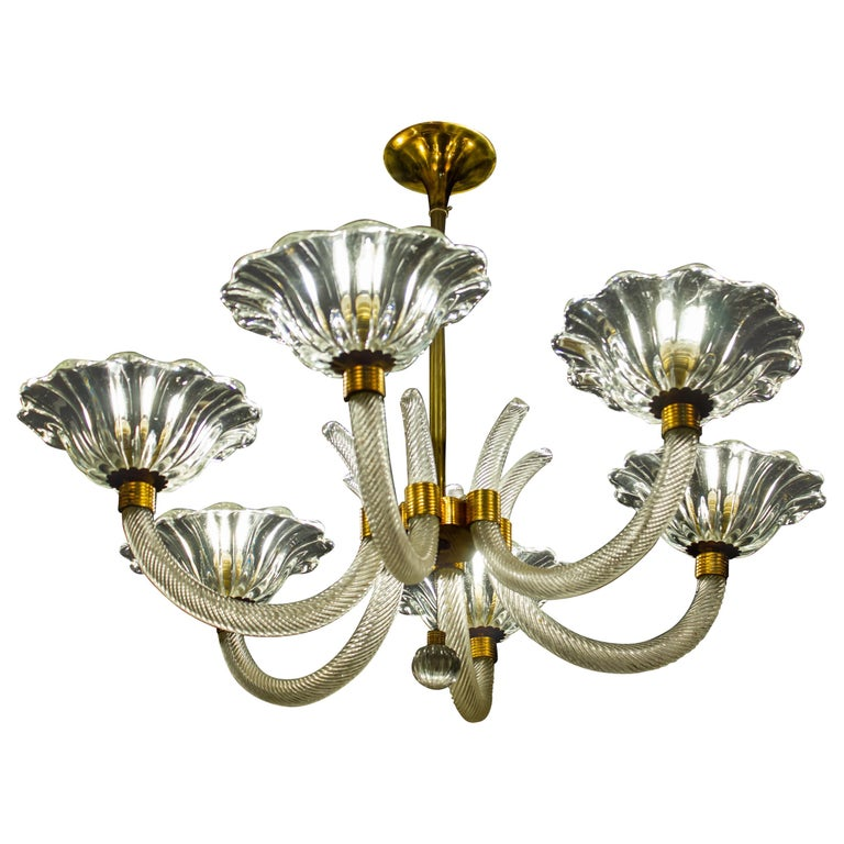 Art Deco Brass Mounted Murano Glass Chandelier by Ercole Barovier, 1940 For Sale