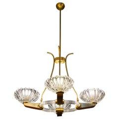 Art Deco Brass Mounted Murano Glass Chandelier by Ercole Barovier, 1940