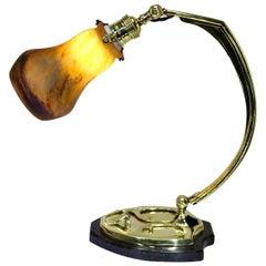 Art Deco Brass Pate De Verre Glass Shade Marmor Muller Fres Table Lamp, 1910