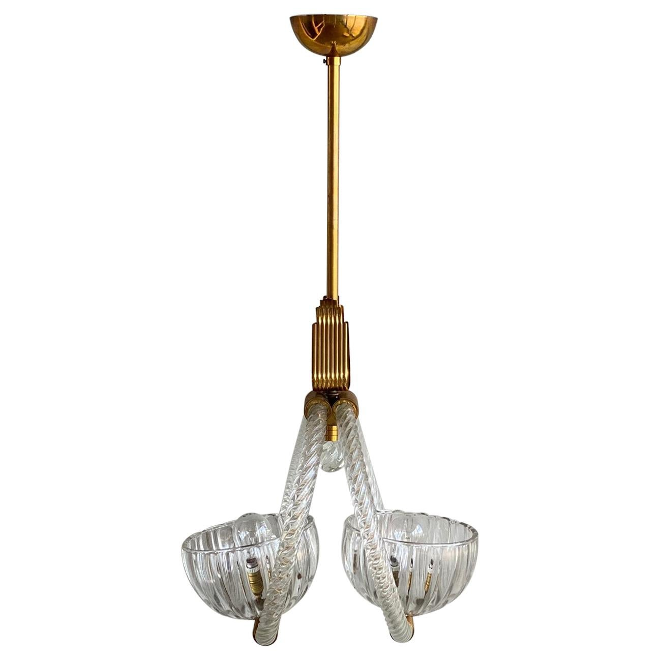 Art Deco Murano Glas Pendant Lamp by Barovier & Toso, 1930s with brass