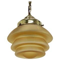 Art Deco Brass Pendant/Patent, 1930s