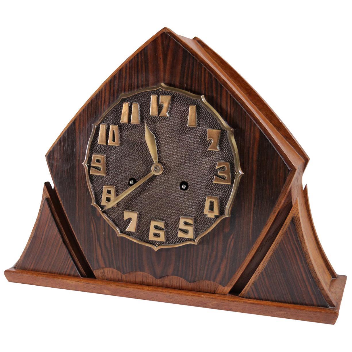 Art Deco Brass Rosewood Oak Mantle Clock Amsterdam School, 1920s