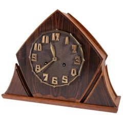 Art Deco Brass Rosewood Oak Mantle Clock Amsterdam School, 1920s