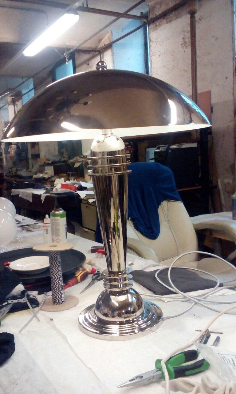 European Art Deco Brass Table Lamp, Re Edition For Sale