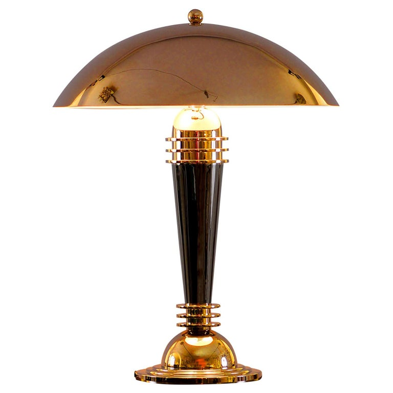 Art Deco Brass Table Lamp, Re Edition For Sale