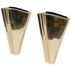 Art Deco Brass Vases