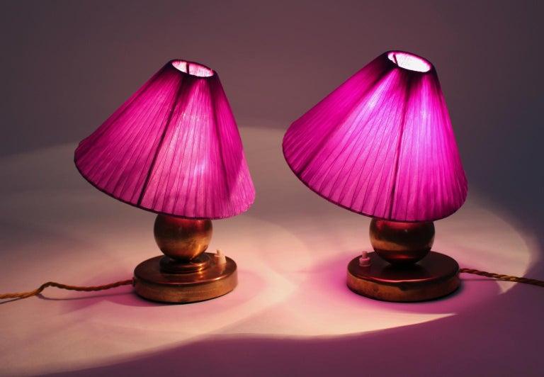 Art Deco Brass Vintage Table Lamps, 1930s, France For Sale 1