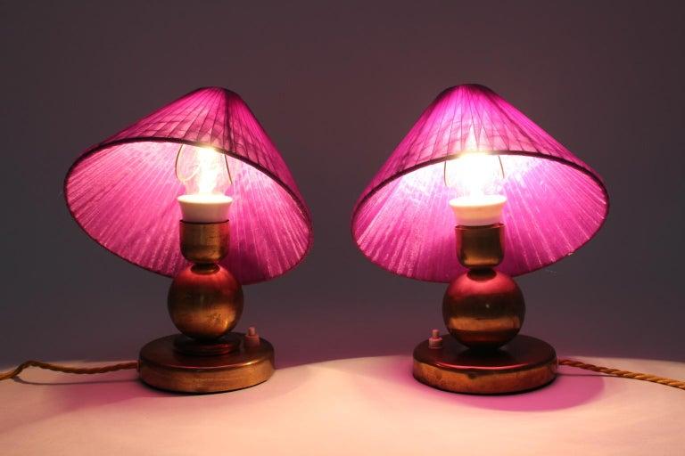 Art Deco Brass Vintage Table Lamps, 1930s, France For Sale 2