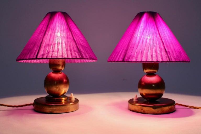 Art Deco Brass Vintage Table Lamps, 1930s, France For Sale 3