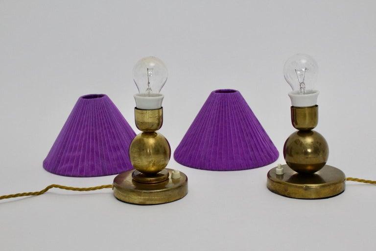 Art Deco Brass Vintage Table Lamps, 1930s, France For Sale 4