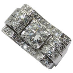 Art Deco Bridge Platinum Diamond Ring