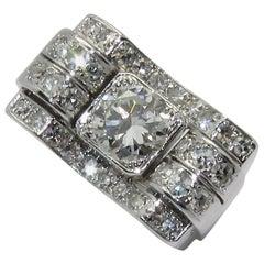 Art Deco Bridge Platinum Diamond Ring