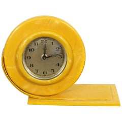 Art Deco Bright Yellow Celluloid Mantle Shelf Clock with Round Face 1930s-1940s