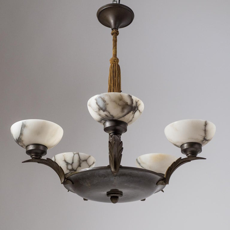 Art Deco Bronze and Alabaster Chandelier, circa 1920 For Sale 6