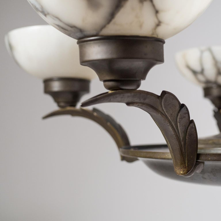 Art Deco Bronze and Alabaster Chandelier, circa 1920 For Sale 7