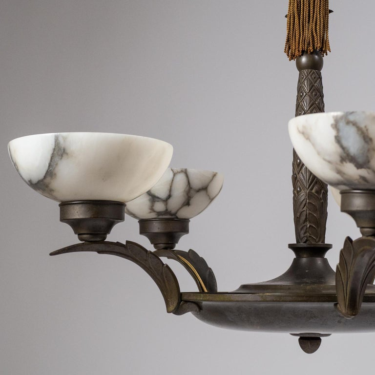 Art Deco Bronze and Alabaster Chandelier, circa 1920 For Sale 8