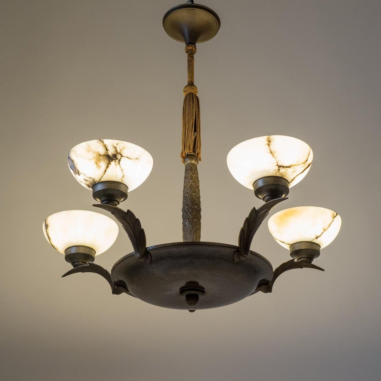 Art Deco Bronze and Alabaster Chandelier, circa 1920 For Sale 10