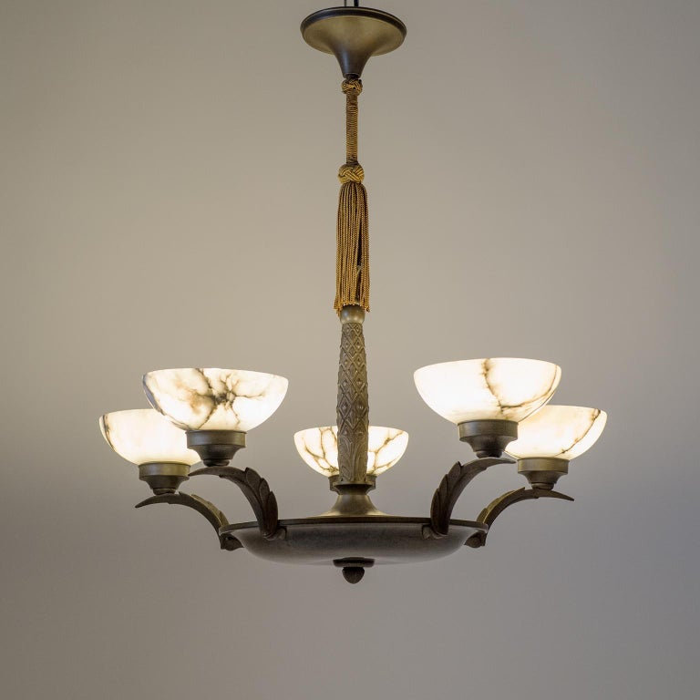 Art Deco Bronze and Alabaster Chandelier, circa 1920 For Sale 11