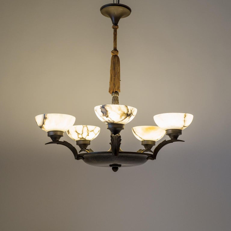 Art Deco Bronze and Alabaster Chandelier, circa 1920 For Sale 12