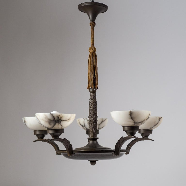 Art Deco Bronze and Alabaster Chandelier, circa 1920 For Sale 13