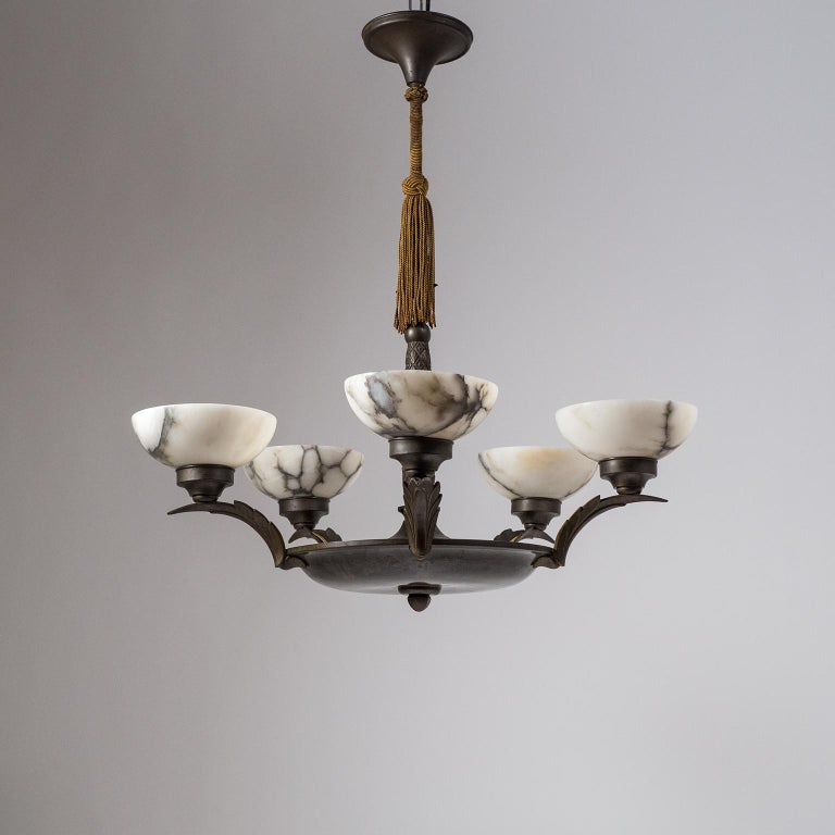Art Deco Bronze and Alabaster Chandelier, circa 1920 For Sale 14